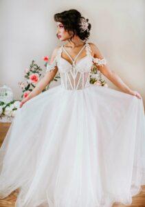 modern a line wedding dress