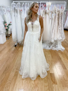 v neck lace wedding dress
