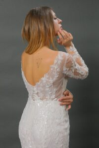 illusion lace wedding dress with open back
