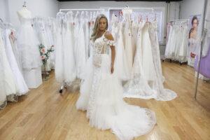blush wedding dress with straps