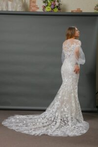 Illusion back lace wedding dress with sleeves