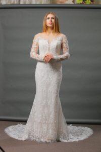 Luxury lace wedding dress with rhinestones