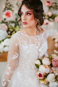 illusion lace wedding dresse with sleeves