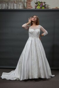 luxury satin wedding dress with lace sleeves