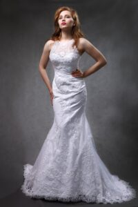 halter wedding dress with lace