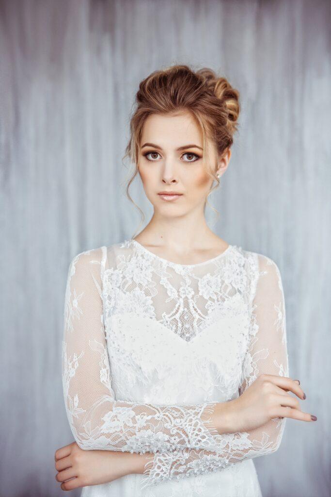 long sleeve fit and flare bridal dress svetlana bridal 1