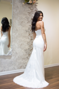 satin fit and flare wedding dress 1