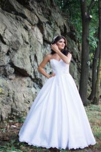 satin wedding dress with sheer bodice