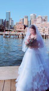 svetlana bridal blue custom wedding dress