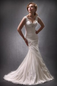 rouched wedding dress